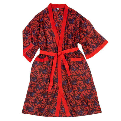 Ten Thousand Villages Red & Black Cotton Robe