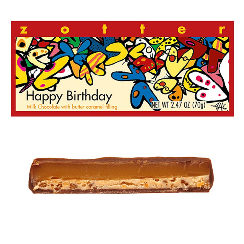 Zotter Chocolate Happy Birthday Hand-Scooped Chocolate