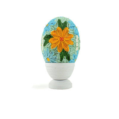 Serrv Quilled Grand Floral Egg with Stand