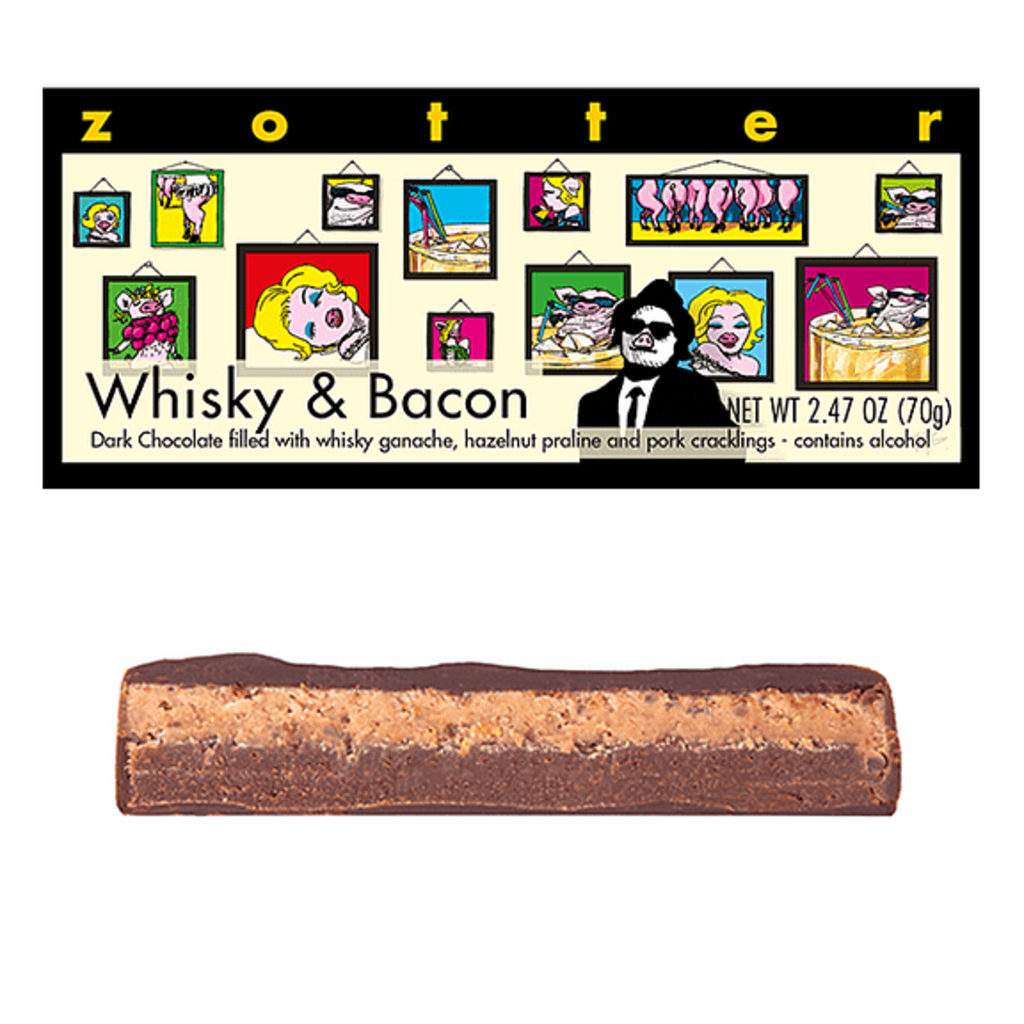 Zotter Chocolate Whiskey & Bacon Hand-scooped Chocolate