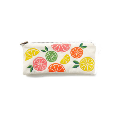 Serrv Citrus Embroidered Cotton Coinpurse