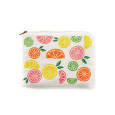 Serrv Citrus Embroidered Cotton Pouch
