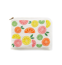 Serrv Citrus Embroidered Cotton Pouch