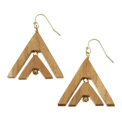 Serrv Chevron Wood Earrings