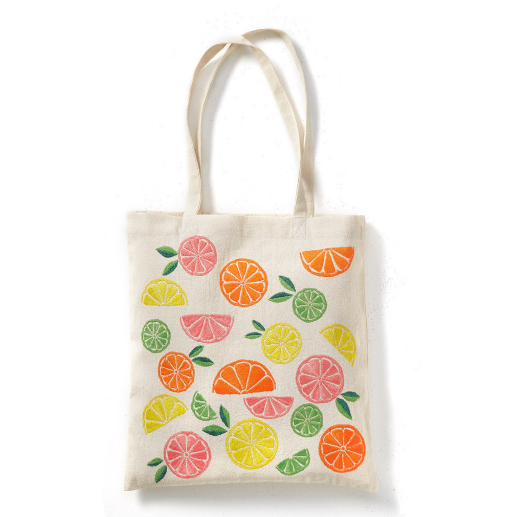 Serrv Citrus Embroidered Cotton Tote