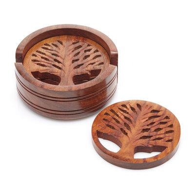 Serrv Tree of Life Wood Coaster Set