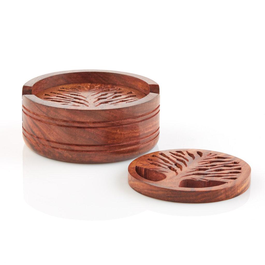 Serrv Tree of Life Shesham Wood Coasters (Set of 4)