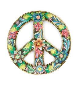 Serrv Floral Peace Sign Painted Drum Art