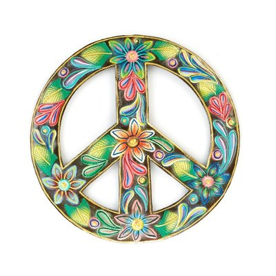 Serrv Floral Peace Sign Painted Drum Art
