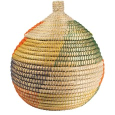 Ten Thousand Villages Kaisa Colorful Round Lidded Basket