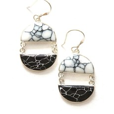 Fair Anita Balance Howlite Black & White Earrings