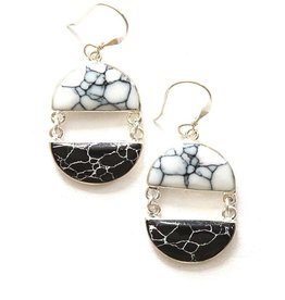 Fair Anita Balance Howlite Black & White Earrings