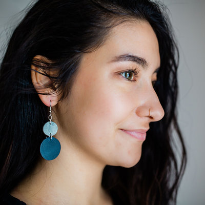 Lucia's Imports Circle Leather Blue Gray Earrings