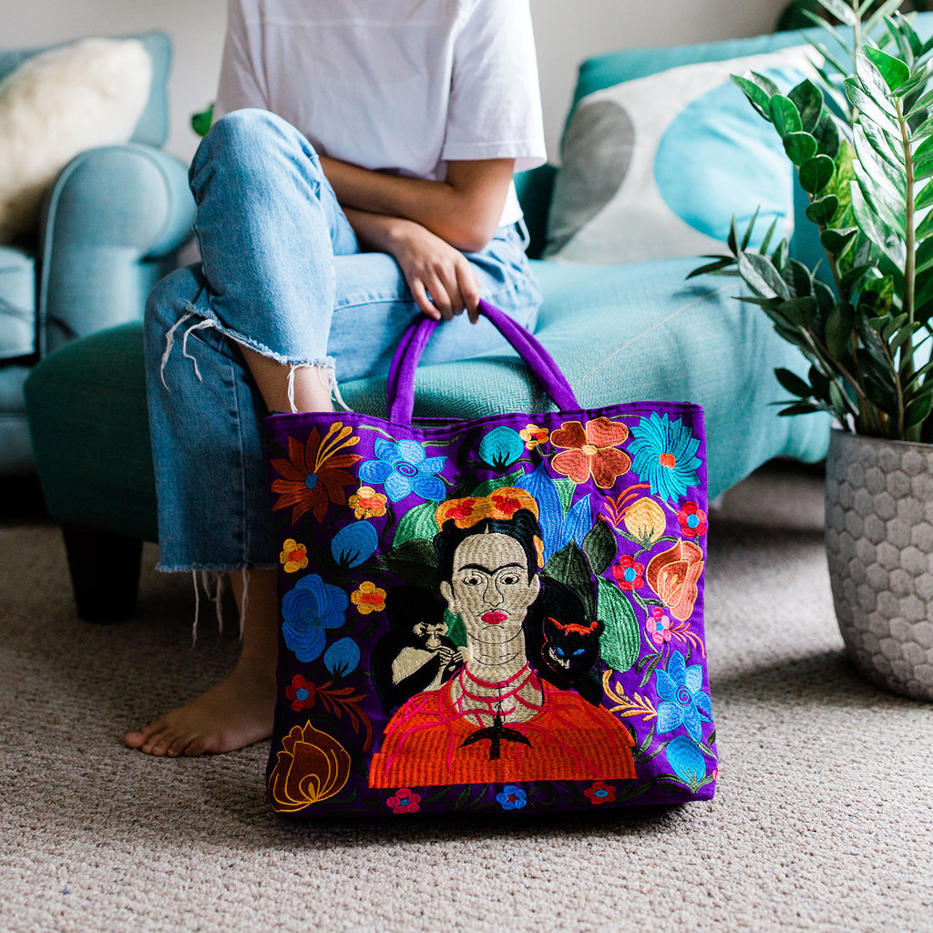 Lucia's Imports Frida Embroidered Tote Bag