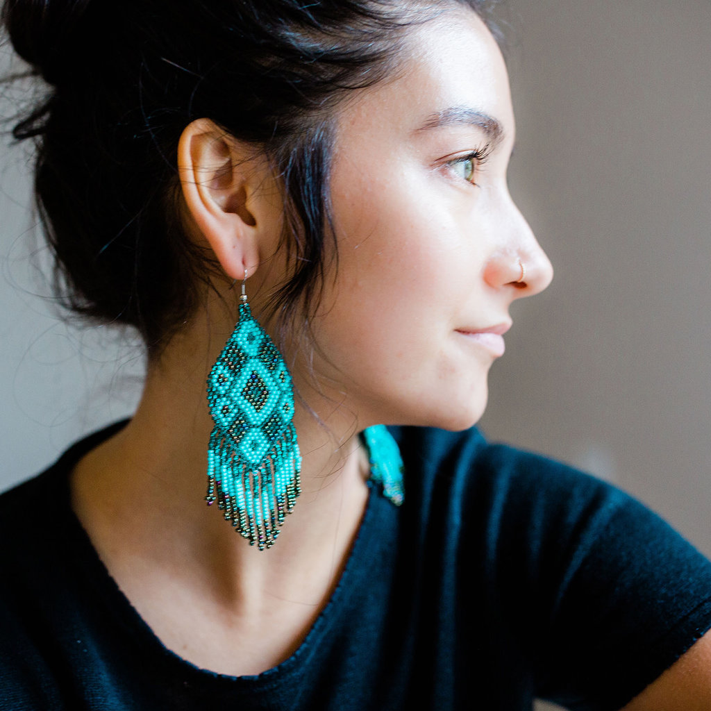 Lucia's Imports Large Beaded Kite Teal Earrings