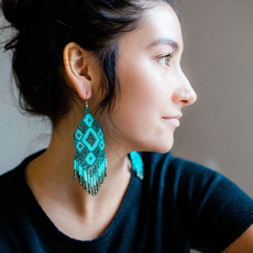 Lucia's Imports Large Beaded Kite Black Teal Earrings