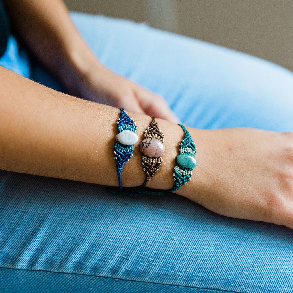 Lucia's Imports Large Macrame Jade Bracelet