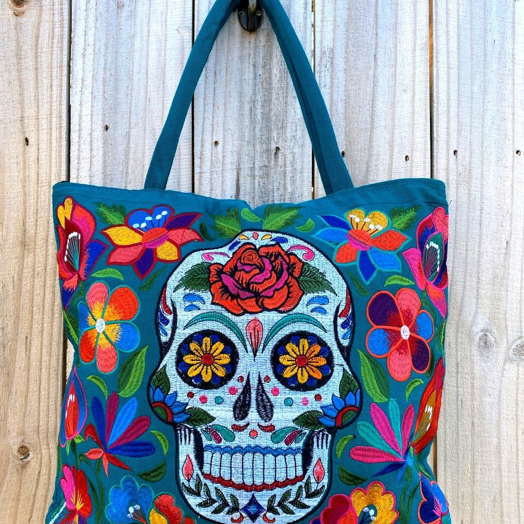 Lucia's Imports Sugar Skull Embroidered Tote Bag