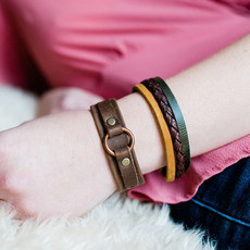 Lucia's Imports Three Color Leather Strand Bracelet