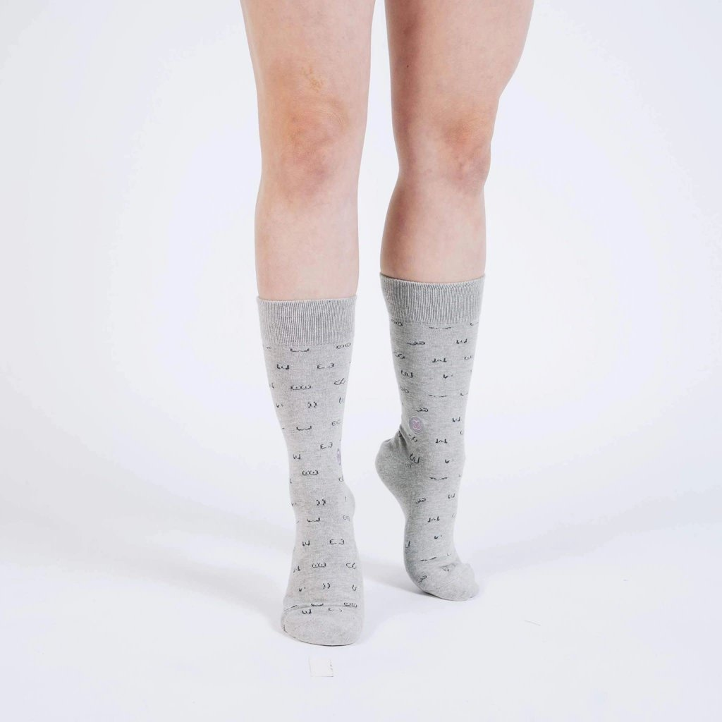 Conscious Step Socks That Prevent Breast Cancer: Grey with Breasts Large