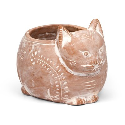 Ten Thousand Villages Crouching Cat Terra Cotta Planter