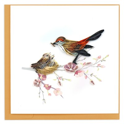 Quilling Card Mother and Baby Birds Quilling Card