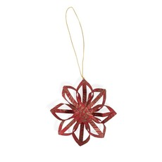 Ten Thousand Villages Red Touch of Gold Star Paper Ornament