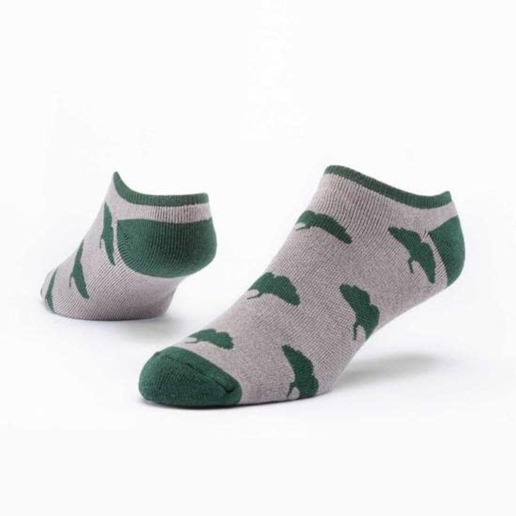 Maggie's Organics Greige Ginkgo Footie Socks