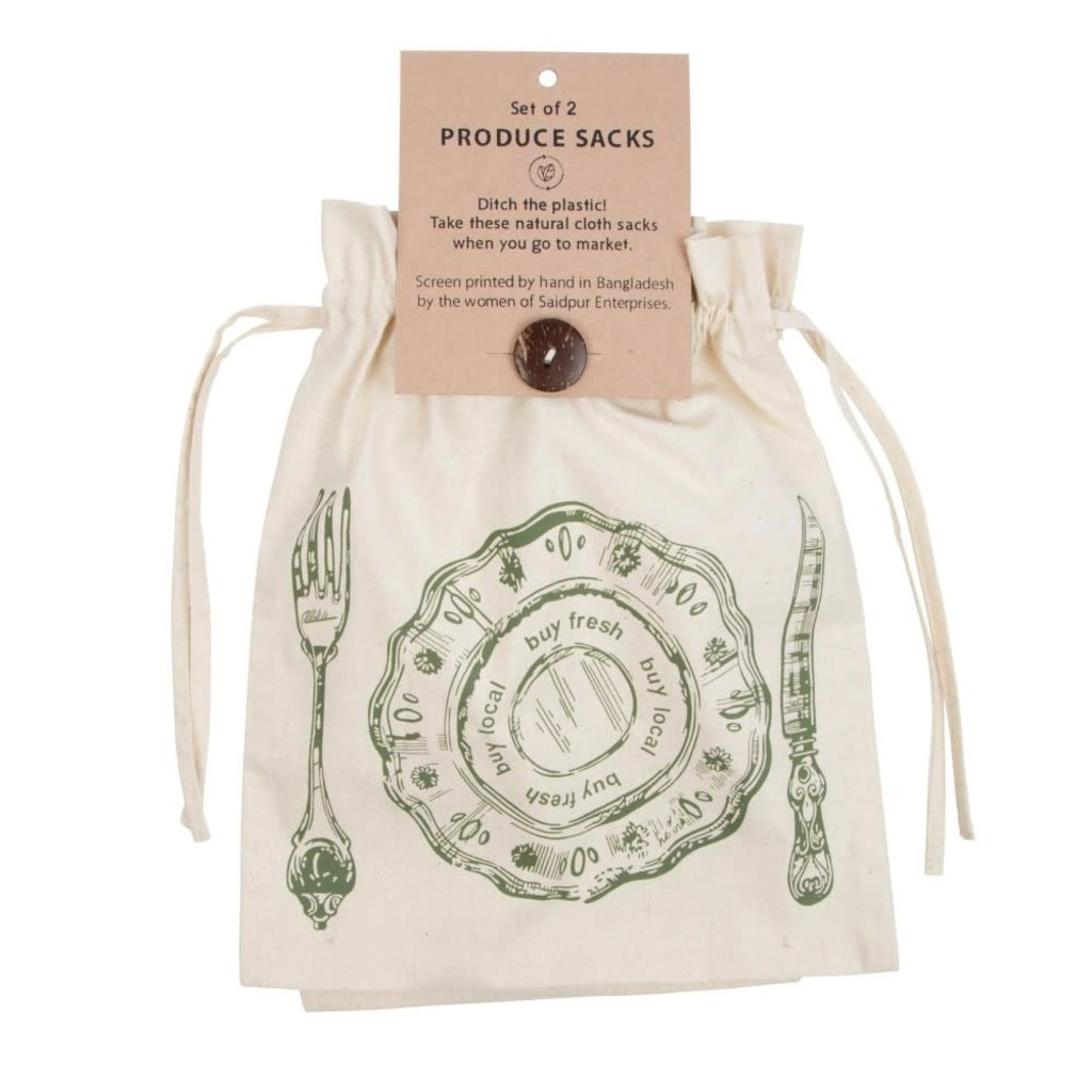 Ten Thousand Villages Eat Well Produce Sack - Set of 2
