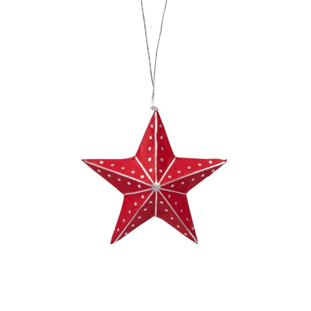 Ten Thousand Villages Silver and Red Paper Star Ornament