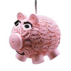 Ten Thousand Villages Quilled Paper Smiling Pig Ornament