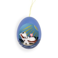 Ten Thousand Villages Snow Person on a Beach Egg Ornament