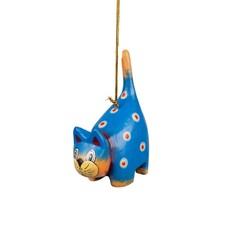 Ten Thousand Villages Spotted Blue Cat Ornament