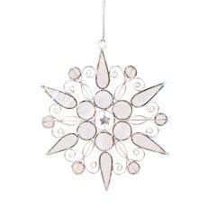 Ten Thousand Villages White Capiz Snowflake Ornament