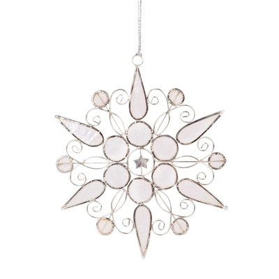 Ten Thousand Villages White Capiz Snowflake Ornament