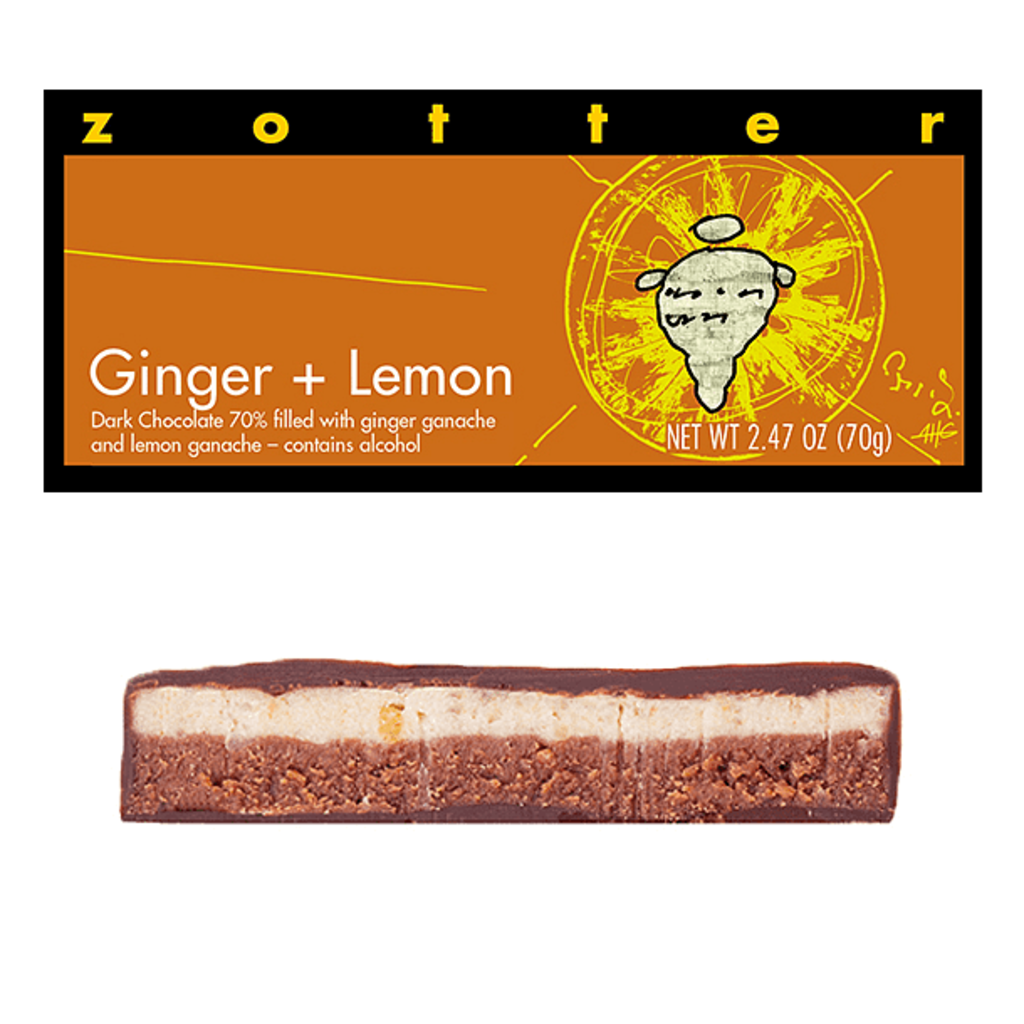 Zotter Chocolate Ginger Lemon Hand-Scooped Chocolate