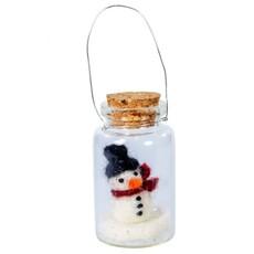 DZI Handmade Snowy Snowperson Tiny Bottle Ornament