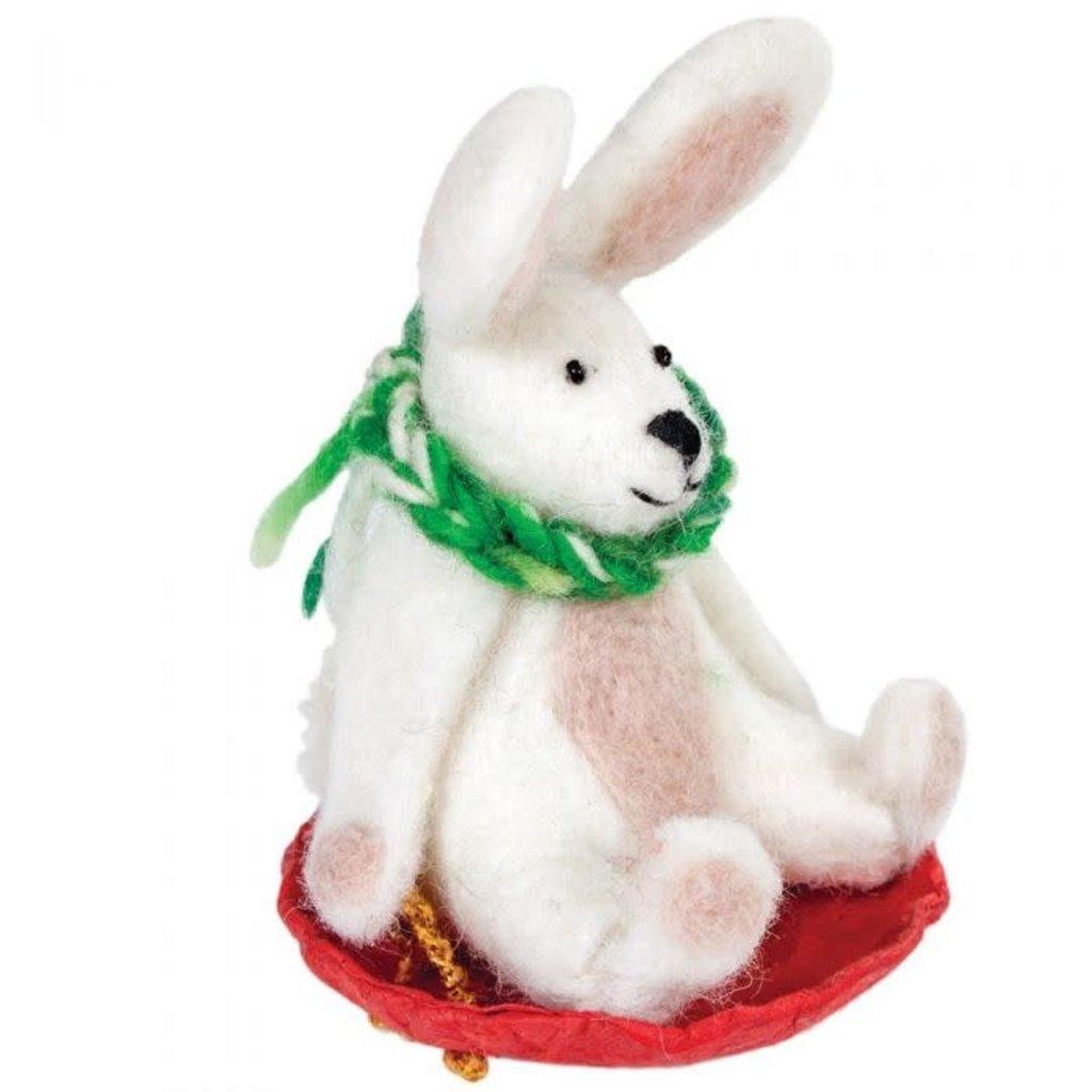 DZI Handmade Sledding Flopsy Rabbit Ornament