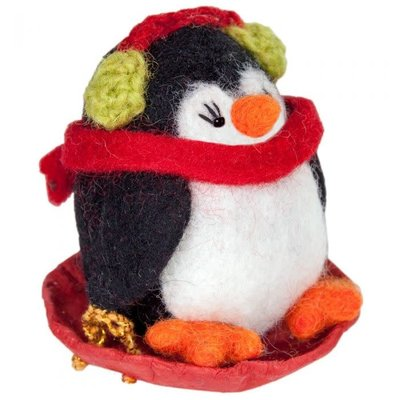 DZI Handmade Sledding Polly Penguin Ornament