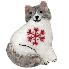DZI Handmade Snowflake Ragamuffin Kitty Ornament