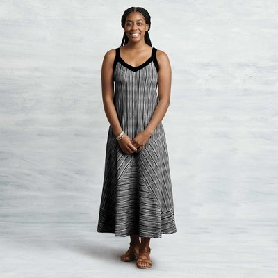 Maggie's Organics Two Way Maxi Dress Black Stripe