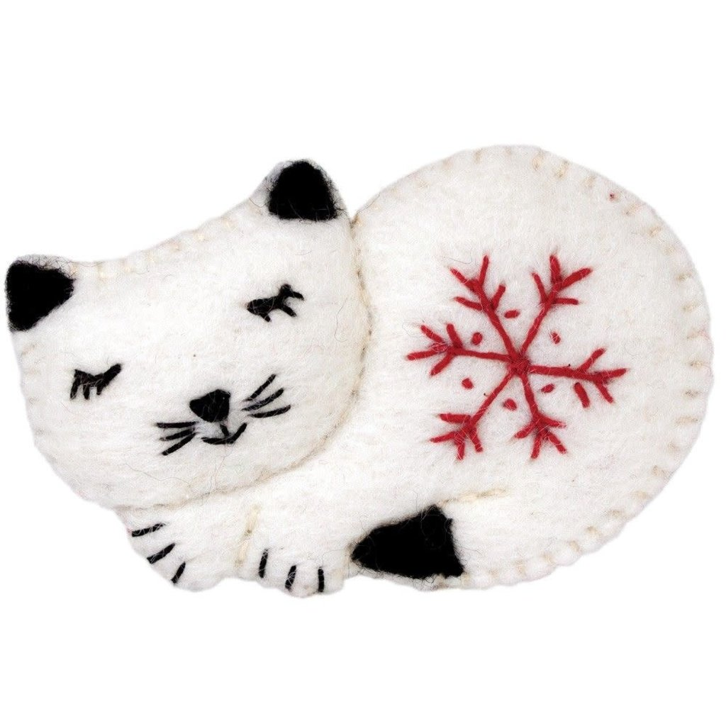 DZI Handmade Snowflake Kitty Ornament