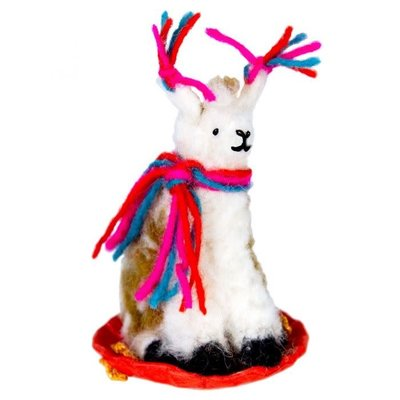DZI Handmade Sledding Llama Felt Ornament