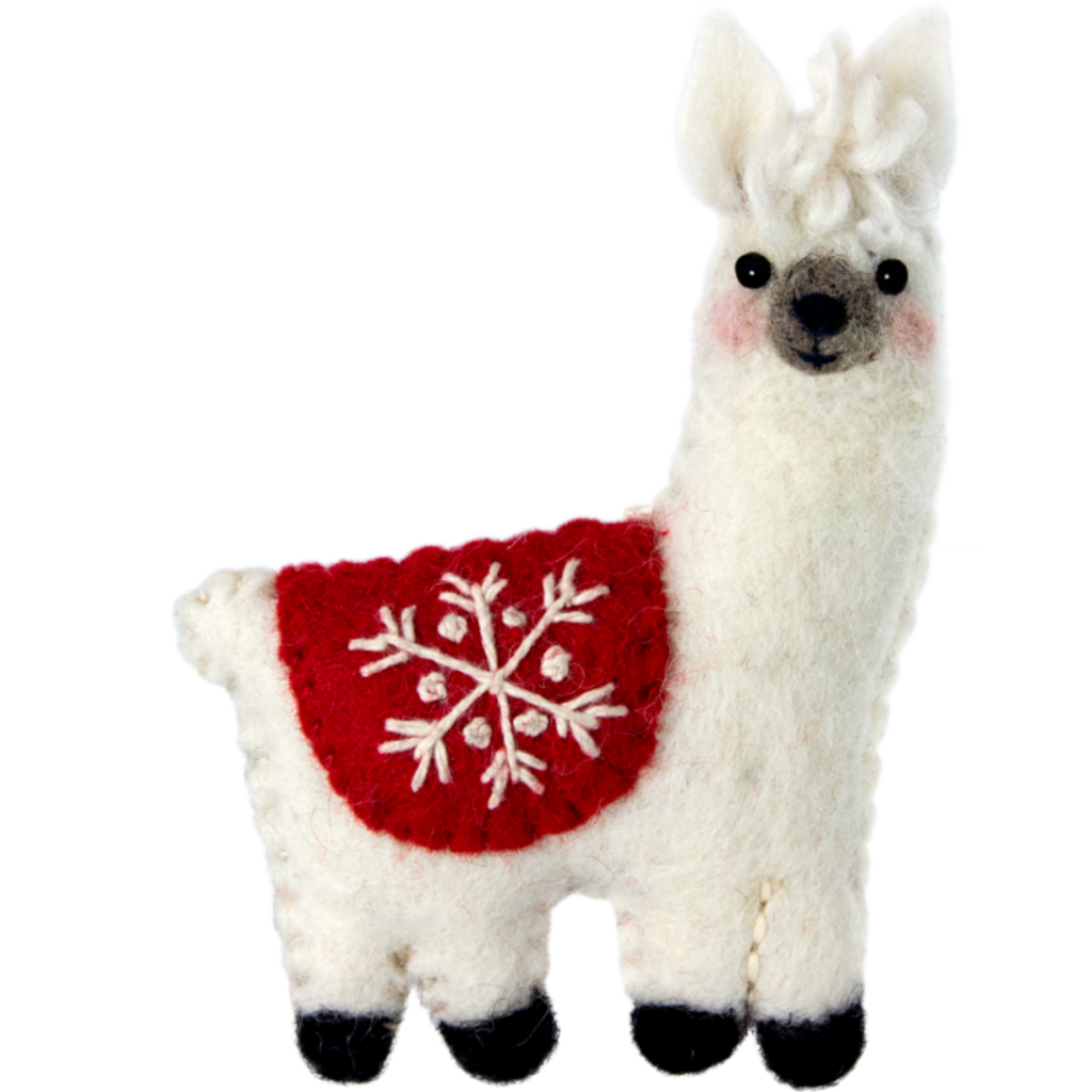 DZI Handmade Snowflake Llama Ornament