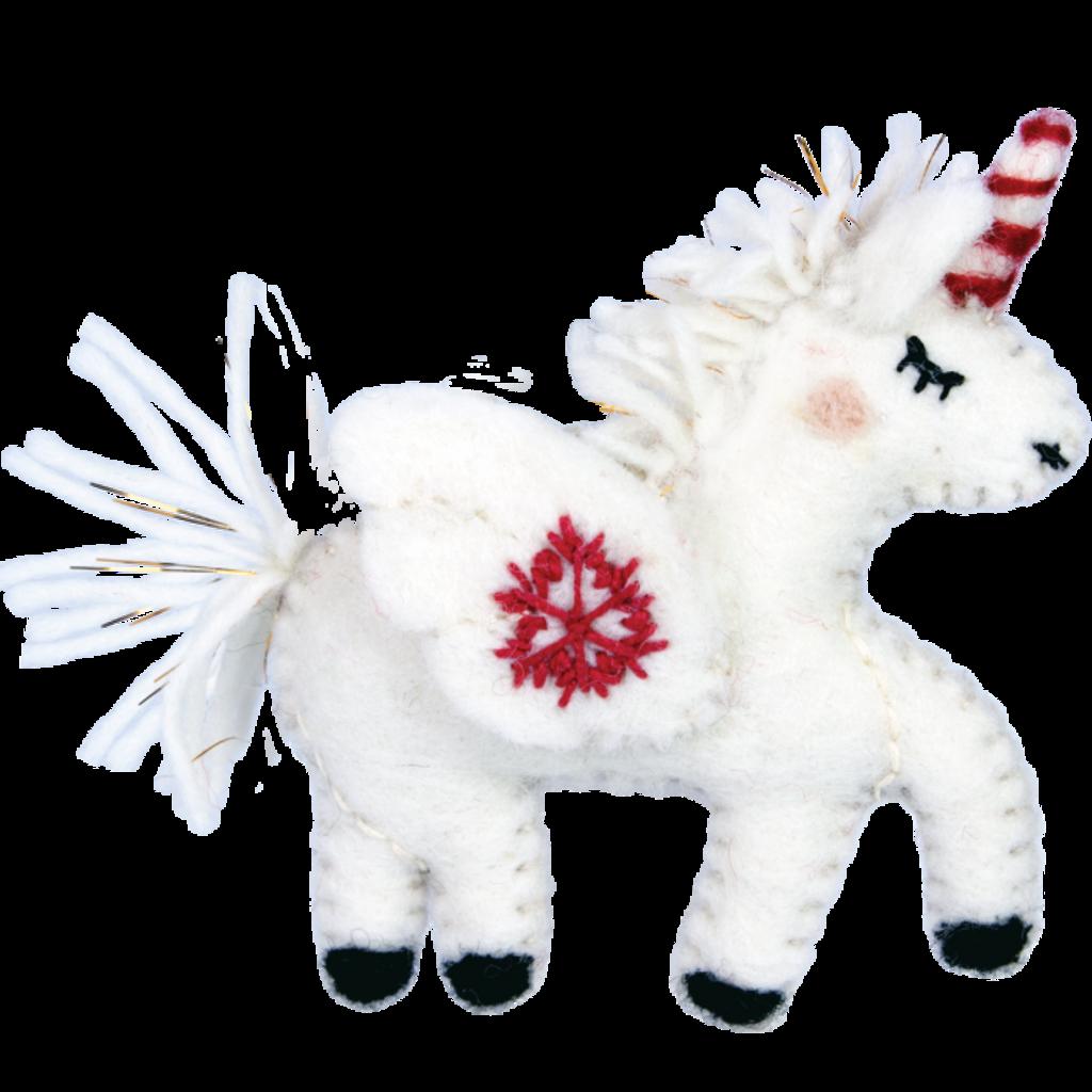 DZI Handmade Snowflake Unicorn Ornament