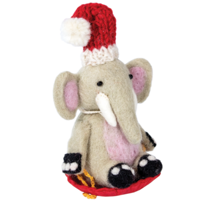 DZI Handmade Sledding Elephant Ornament