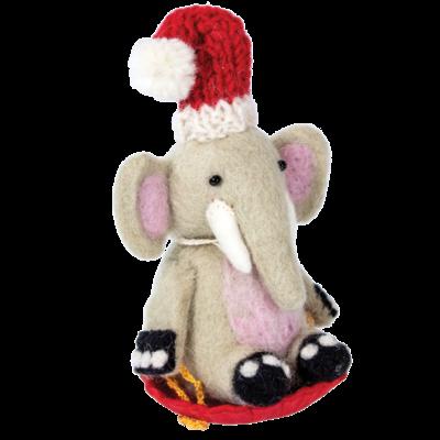 DZI Handmade Sledding Elephant Ornament