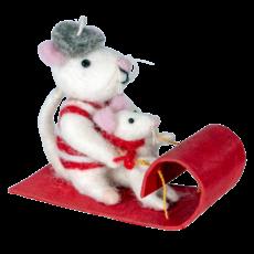 DZI Handmade Toboggan Mice Ornament