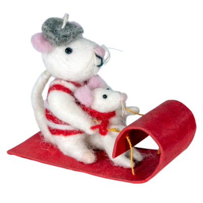 DZI Handmade Toboggan Mice Ornament