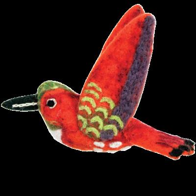 DZI Handmade Wild Woolie Rufous Hummingbird Ornament